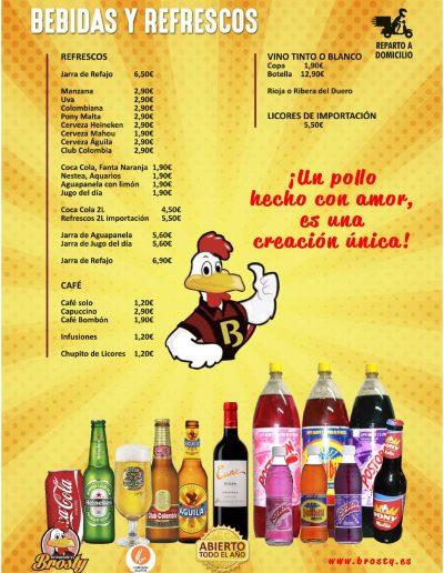 Carta Brosty Bebidas y Refrescos